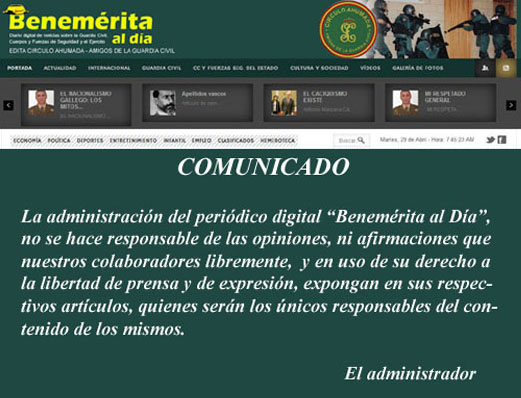 Comunicado Benemerita - La administración de Benemerita al Dia no se hace responsable de las opiniones, ni afirmaciones, que nuestros colaboradores libremente, en uso de su libertad de prensa y de expresión, expongan en sus artículos, quienes serán los únicos responsables del contenido de los mismos.